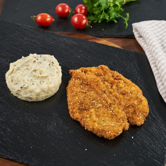 Snitel The Plate – Snitel special de pui si piure de cartofi cu trufe